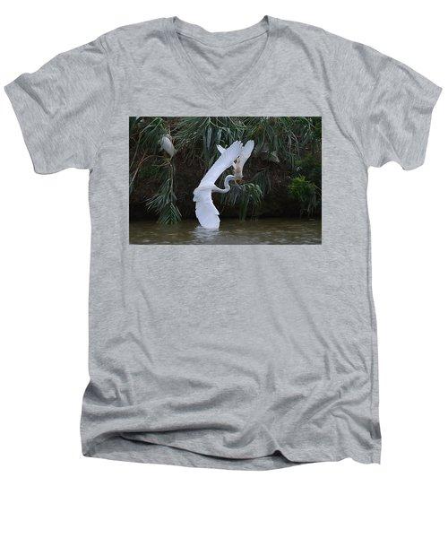 Cattle Egret Harassing An Adult Egret - Digitalart Men's V-Neck T-Shirt