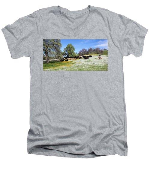 Cattle N Flowers Men's V-Neck T-Shirt by Diane Bohna
