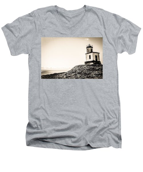 Cattle Point Lighthouse Men's V-Neck T-Shirt by William Wyckoff