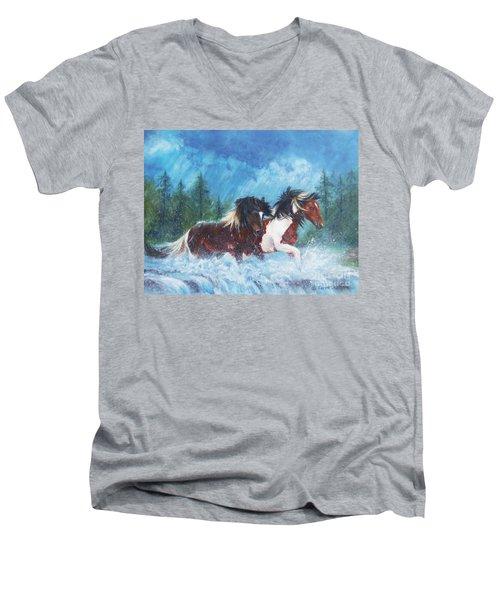 Caught In The Rain  Men's V-Neck T-Shirt by Karen Kennedy Chatham