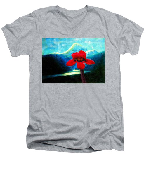 Caucasus Love Flower I Men's V-Neck T-Shirt by Anastasia Savage Ealy
