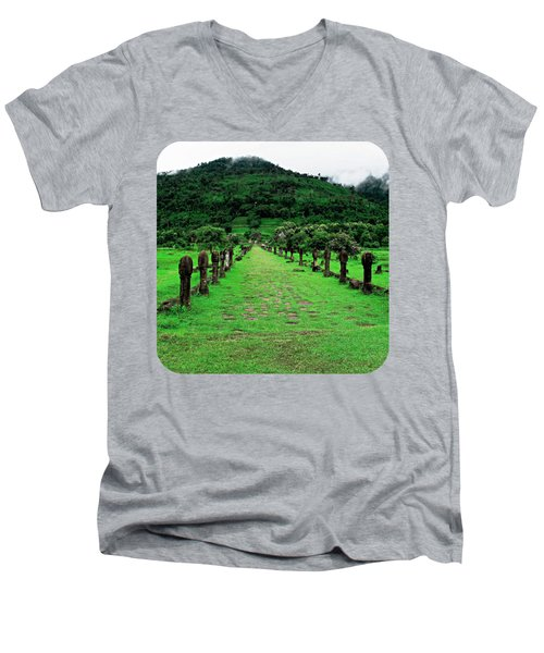 Causeway To Wat Phou Men's V-Neck T-Shirt by Ethna Gillespie