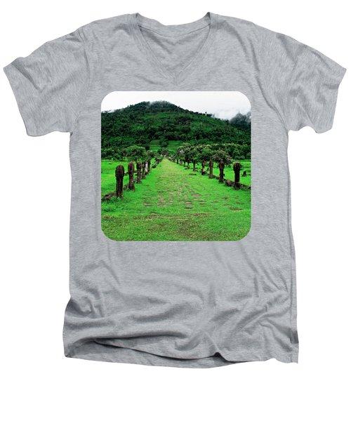 Causeway To Wat Phou Men's V-Neck T-Shirt