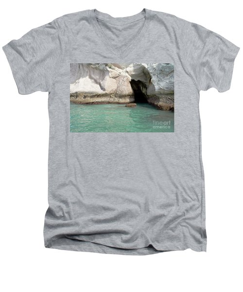 Men's V-Neck T-Shirt featuring the photograph Cave Entranve by Yurix Sardinelly