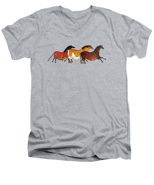 Cave Horses In Beige Men's V-Neck T-Shirt