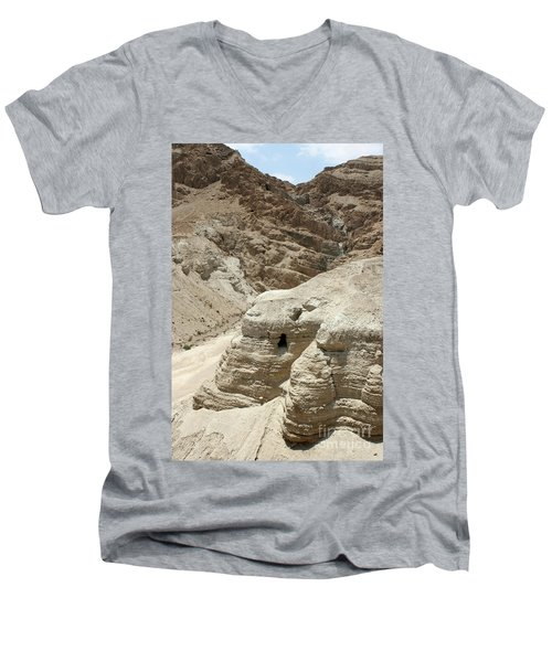 Caves Of The Dead Sea Scrolls Men's V-Neck T-Shirt