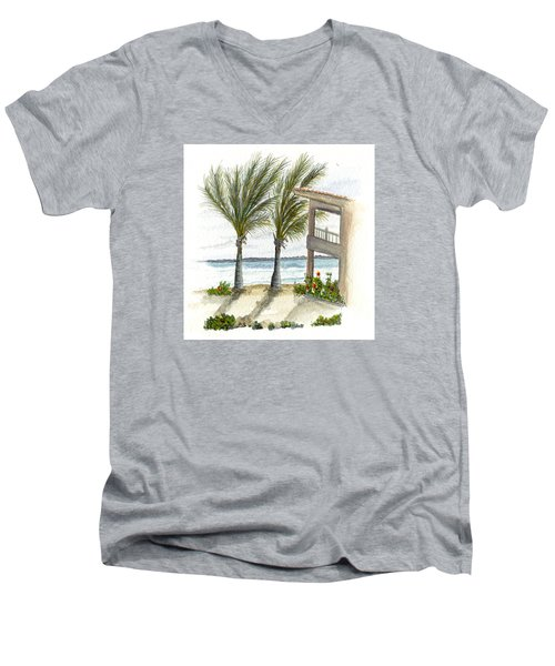 Men's V-Neck T-Shirt featuring the digital art Cayman Hotel by Darren Cannell