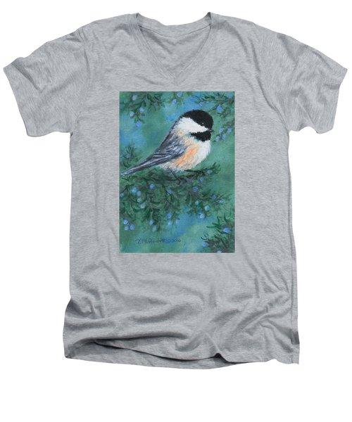 Cedar Chickadee 1 Men's V-Neck T-Shirt by Kathleen McDermott
