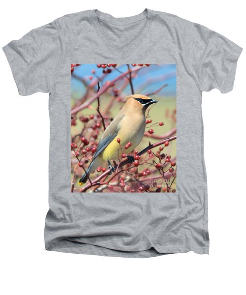Men's V-Neck T-Shirt featuring the photograph Cedar Waxwing by Debbie Stahre