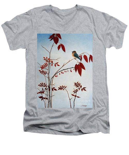 Cedar Waxwing Men's V-Neck T-Shirt by Laura Tasheiko