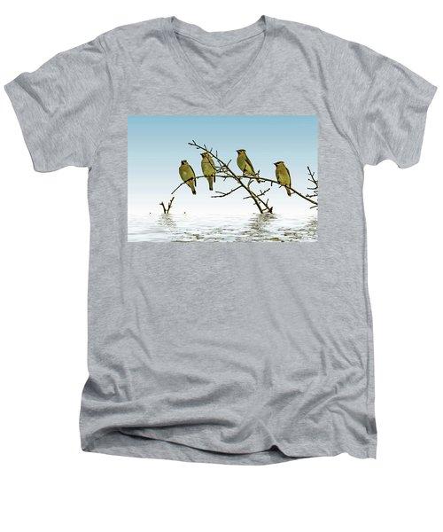 Cedar Waxwings On A Branch Men's V-Neck T-Shirt by Geraldine Scull