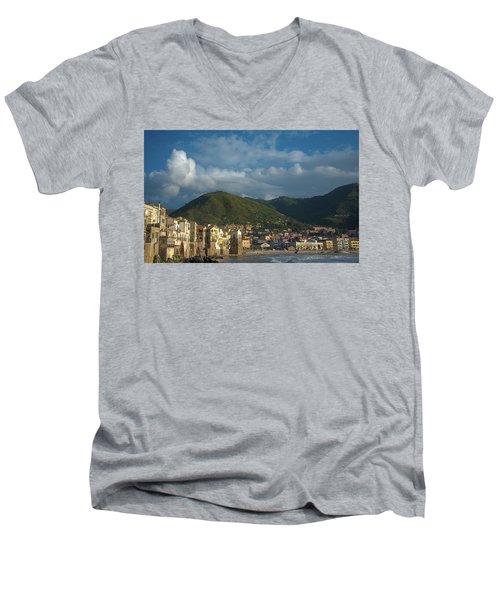 Cefalu  Men's V-Neck T-Shirt by Patrick Boening