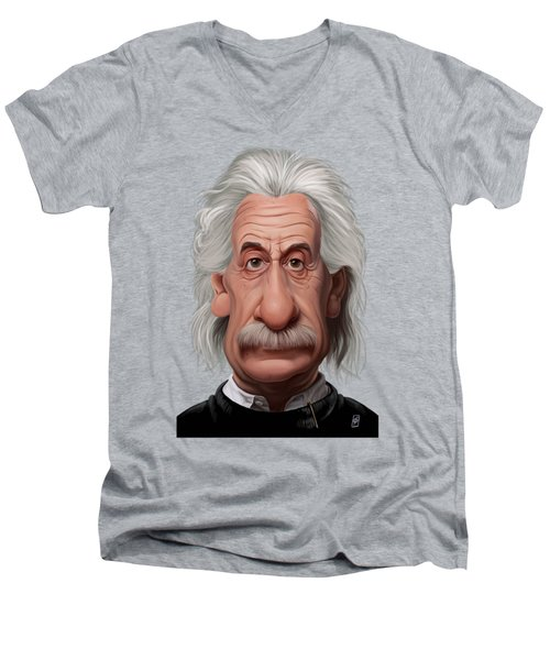 Celebrity Sunday - Albert Einstein Men's V-Neck T-Shirt by Rob Snow