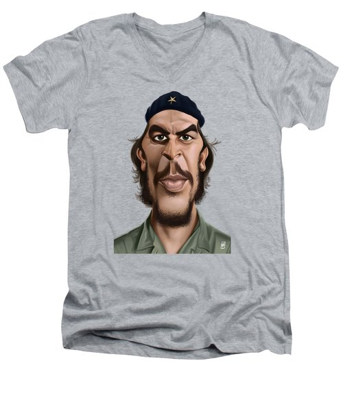 Men's V-Neck T-Shirt featuring the drawing Celebrity Sunday - Che Guevara by Rob Snow