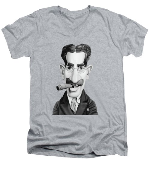 Celebrity Sunday - Groucho Marx Men's V-Neck T-Shirt by Rob Snow