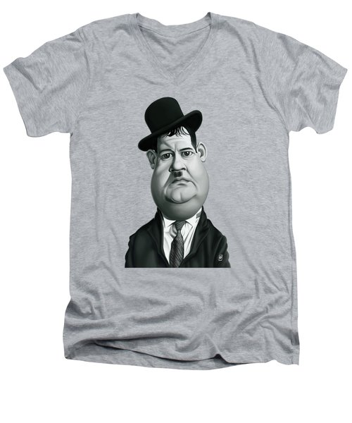 Celebrity Sunday - Oliver Hardy Men's V-Neck T-Shirt by Rob Snow