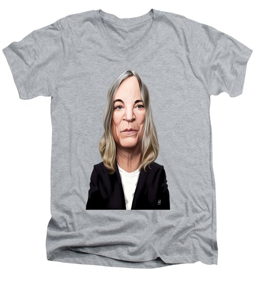 Men's V-Neck T-Shirt featuring the drawing Celebrity Sunday - Patti Smith by Rob Snow