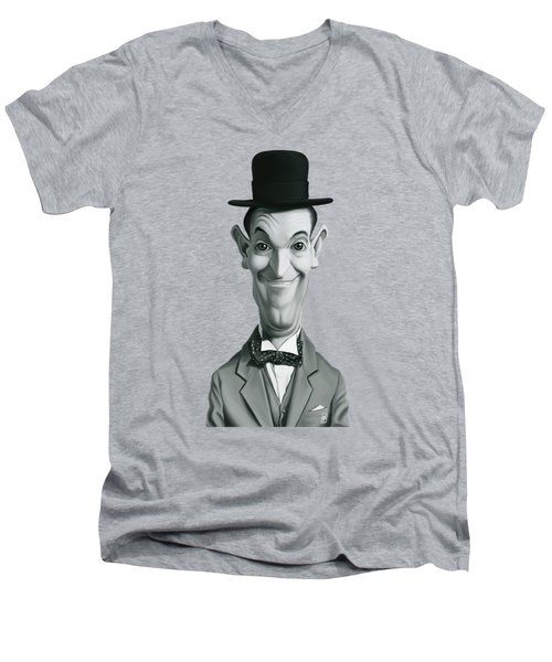 Celebrity Sunday - Stan Laurel Men's V-Neck T-Shirt by Rob Snow
