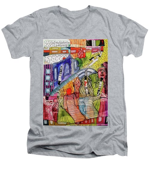 Men's V-Neck T-Shirt featuring the mixed media Celestial Windows by Mimulux patricia no No