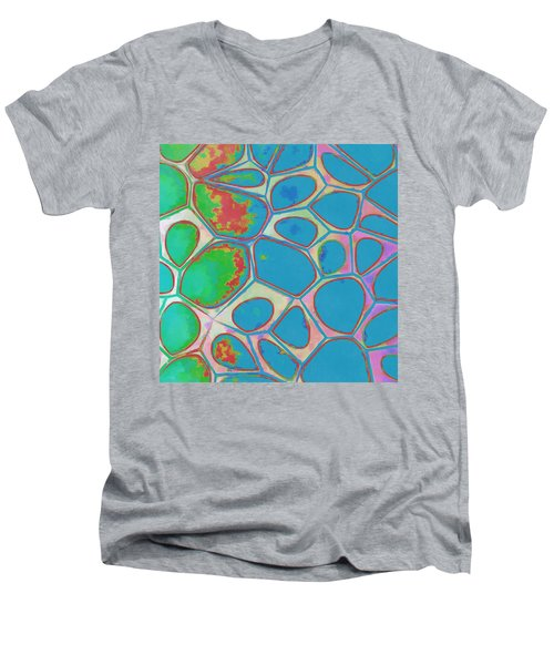 Cells Abstract Three Men's V-Neck T-Shirt by Edward Fielding