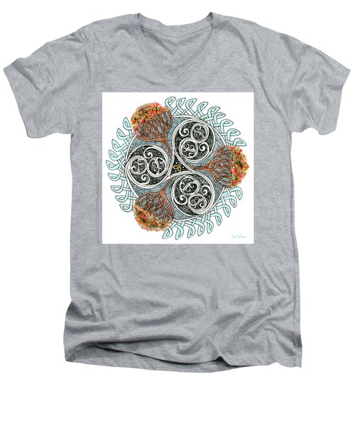 Celtic Knot With Autumn Trees Men's V-Neck T-Shirt