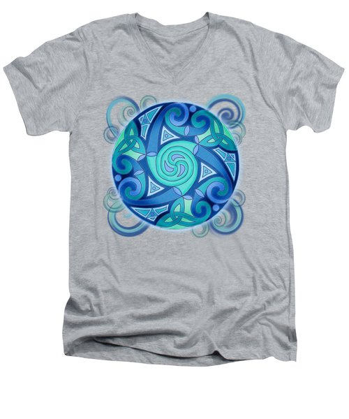 Men's V-Neck T-Shirt featuring the mixed media Celtic Planet by Kristen Fox