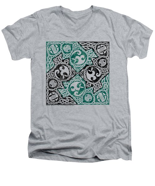Men's V-Neck T-Shirt featuring the photograph Celtic Puzzle Square by Kristen Fox