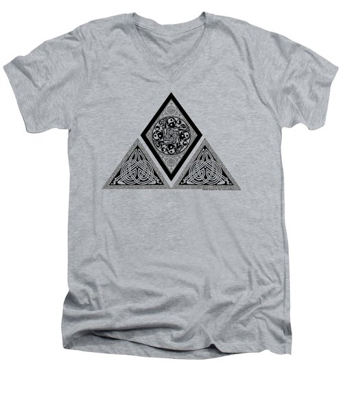 Men's V-Neck T-Shirt featuring the mixed media Celtic Pyramid by Kristen Fox