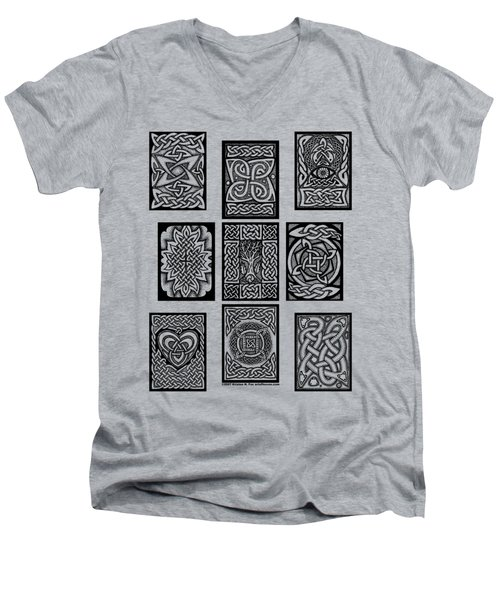 Men's V-Neck T-Shirt featuring the drawing Celtic Tarot Spread by Kristen Fox