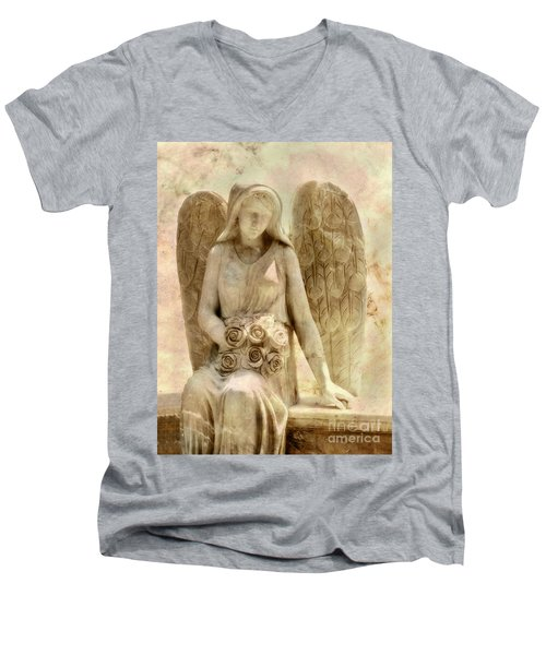 Cemetery Angel Statue Men's V-Neck T-Shirt by Randy Steele