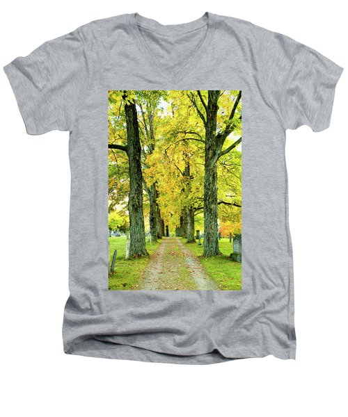 Men's V-Neck T-Shirt featuring the photograph Cemetery Lane by Greg Fortier