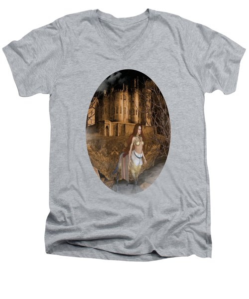 Centaur Castle Men's V-Neck T-Shirt by G Berry