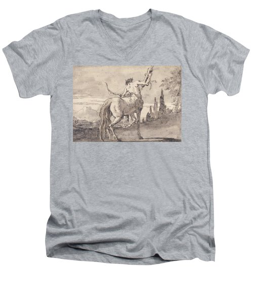 Centaur Holding Up A Quiver Men's V-Neck T-Shirt