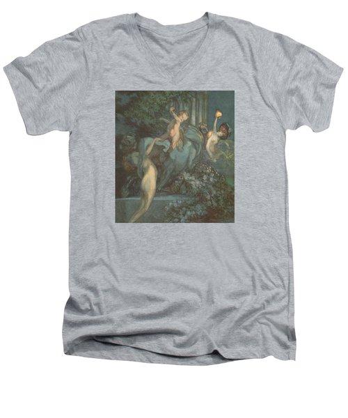 Centaur Nymphs And Cupid Men's V-Neck T-Shirt by Franz von Bayros