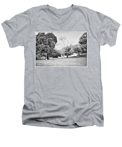 Men's V-Neck T-Shirt featuring the photograph Central Park In Black And White by Madeline Ellis