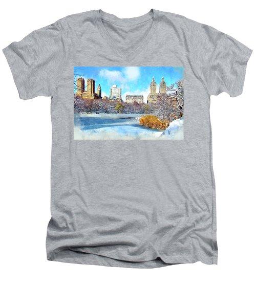 Central Park In Winter Men's V-Neck T-Shirt