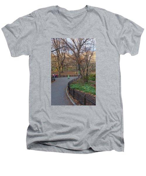 Men's V-Neck T-Shirt featuring the photograph Central Park by Melinda Saminski