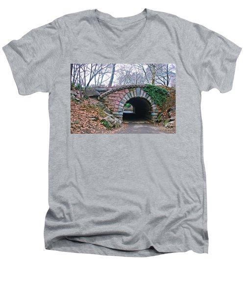 Central Park, Nyc Bridge Landscape Men's V-Neck T-Shirt