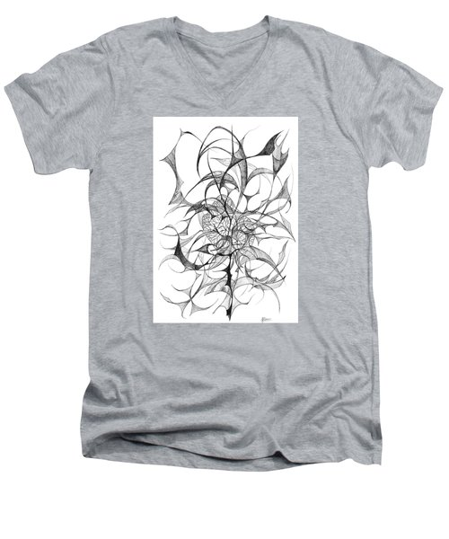 Centred Men's V-Neck T-Shirt by Charles Cater