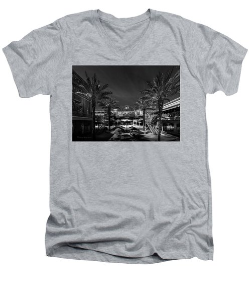 Men's V-Neck T-Shirt featuring the photograph Centro Ybor Bw by Marvin Spates