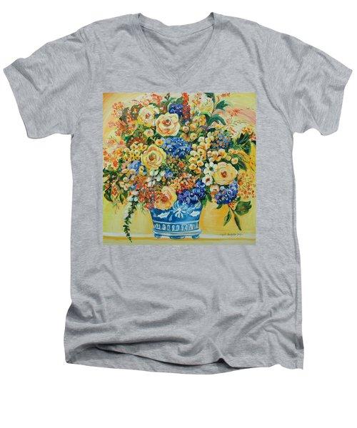 Ceramic Blue Men's V-Neck T-Shirt