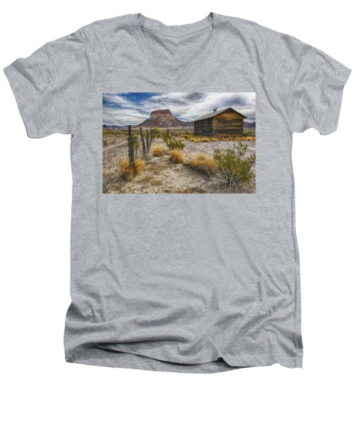 Men's V-Neck T-Shirt featuring the tapestry - textile Cerro Castellan - Big Bend - Color by Kathy Adams Clark