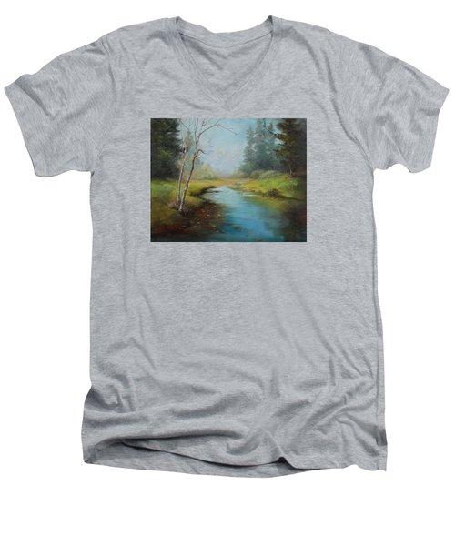 Cerulean Blue Stream Men's V-Neck T-Shirt