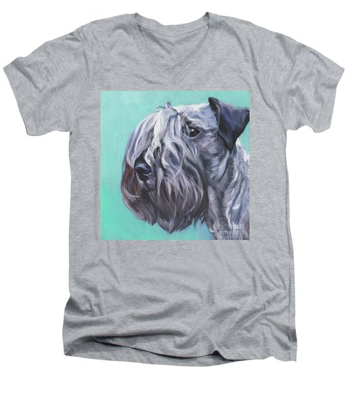 Men's V-Neck T-Shirt featuring the painting Cesky Terrier by Lee Ann Shepard