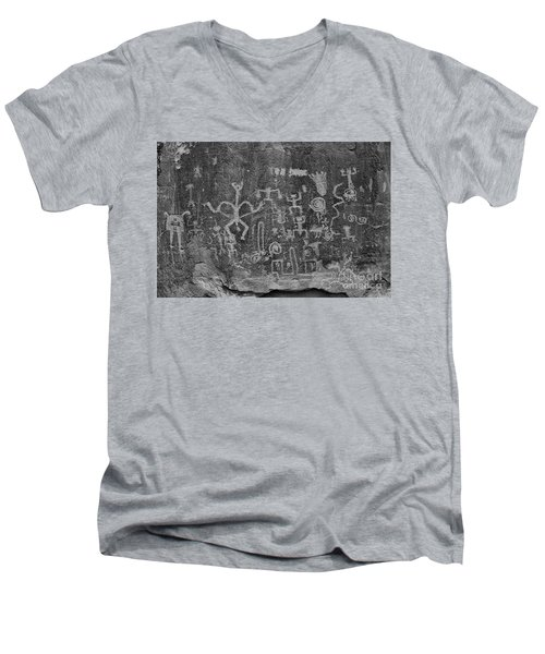 Men's V-Neck T-Shirt featuring the photograph Chaco Canyon Petroglyphs Black And White by Adam Jewell