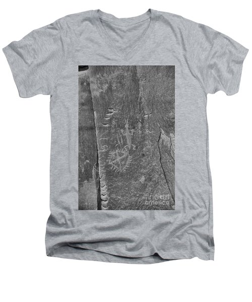 Men's V-Neck T-Shirt featuring the photograph Chaco Petroglyph Figures Black And White by Adam Jewell
