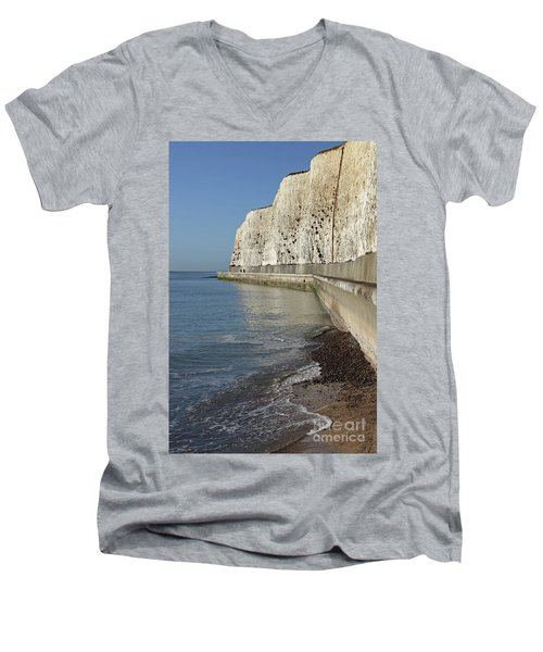 Chalk Cliffs At Peacehaven East Sussex England Uk Men's V-Neck T-Shirt