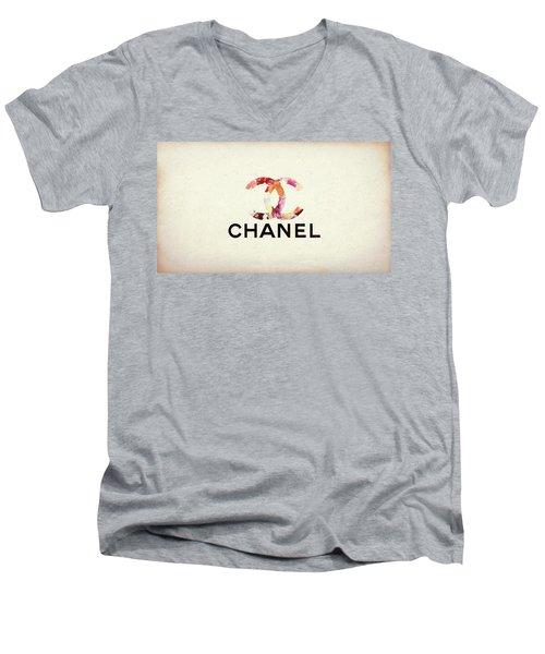 Chanel Floral Texture  Men's V-Neck T-Shirt
