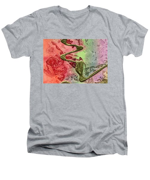 Men's V-Neck T-Shirt featuring the mixed media Changes by Angela L Walker