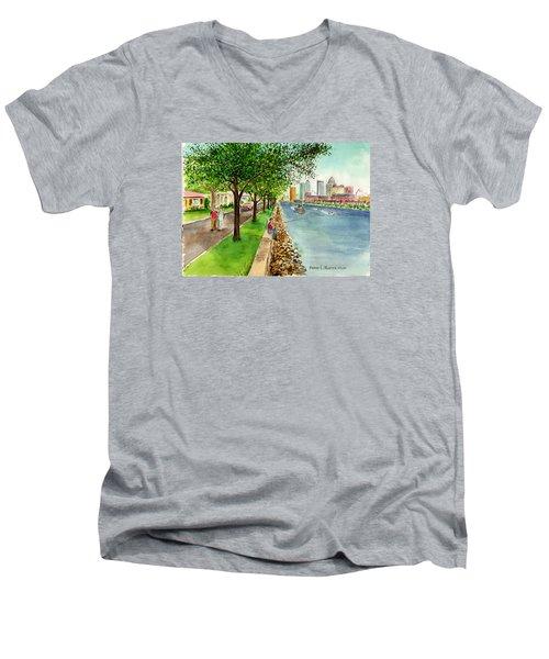 Channel Drive Tampa Florida Men's V-Neck T-Shirt by Frank Hunter